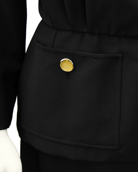 Black Skirt Suit with Peplum