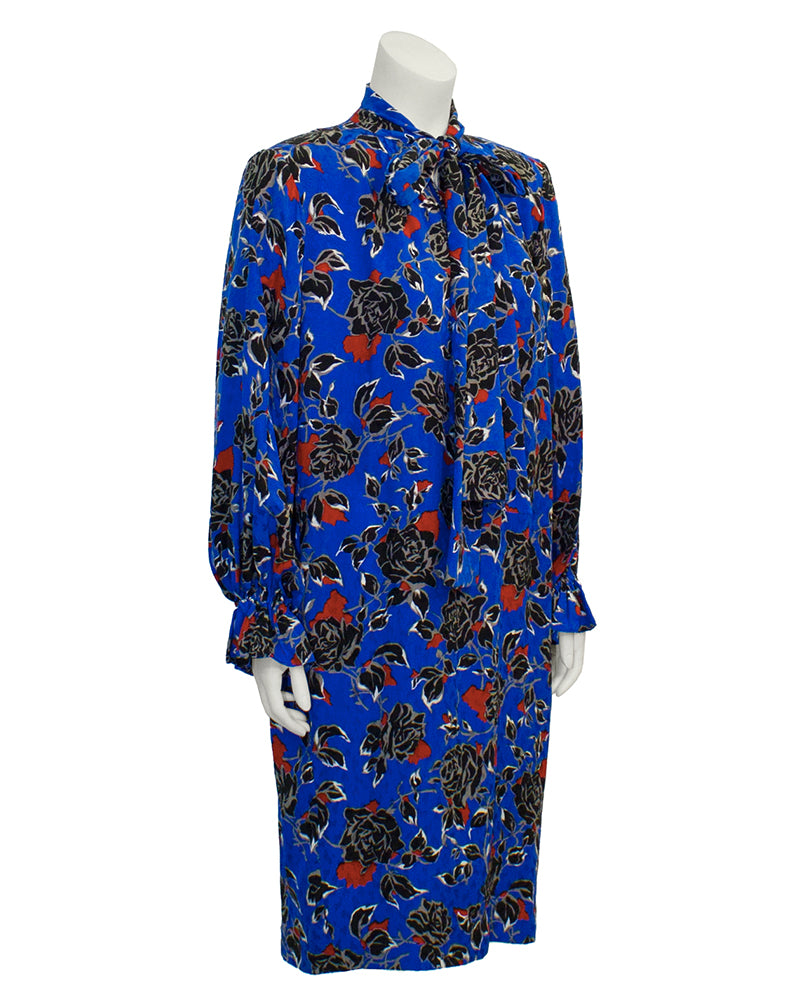 Blue Jacquard Silk Print Dress