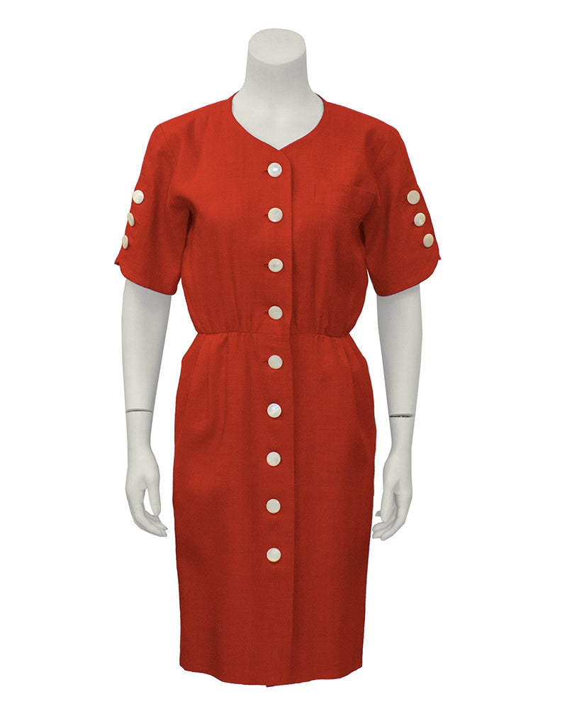 Red Linen Dress with White Buttons