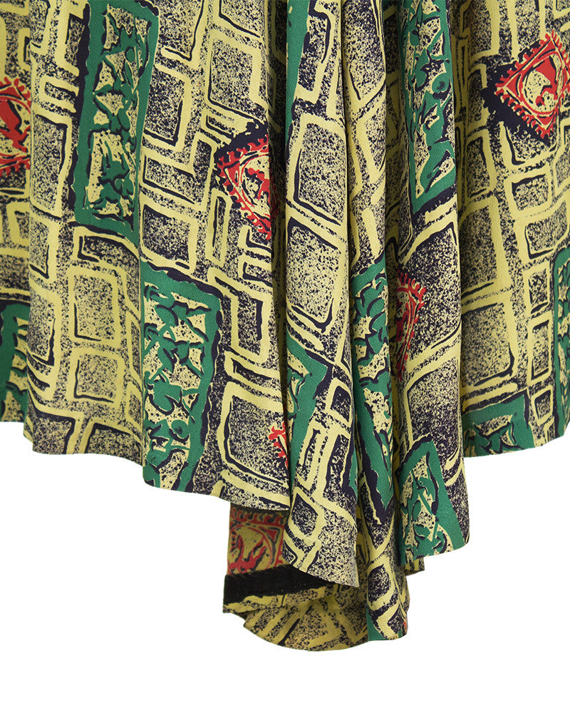 Yellow and Green Rayon Printed Dress