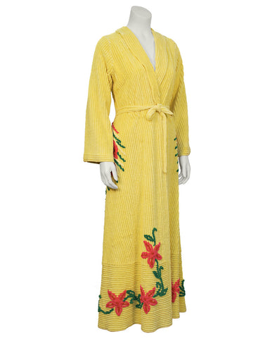 Yellow Chenille Robe With Peacock