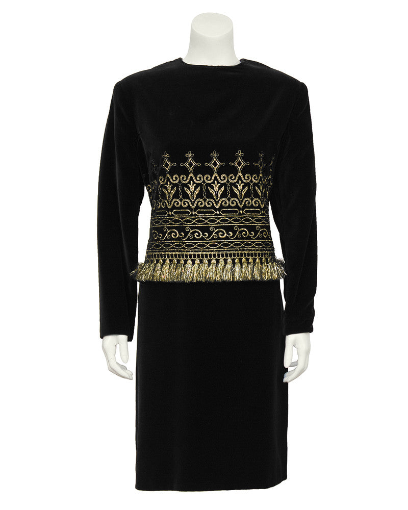 Black Velvet And Gold Fringe Cocktail Dress