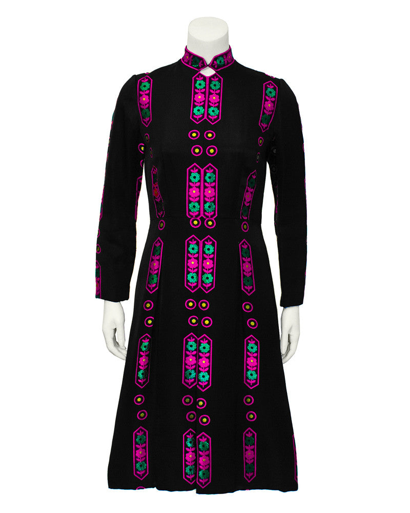 Black Embroidered Folkloric Dress
