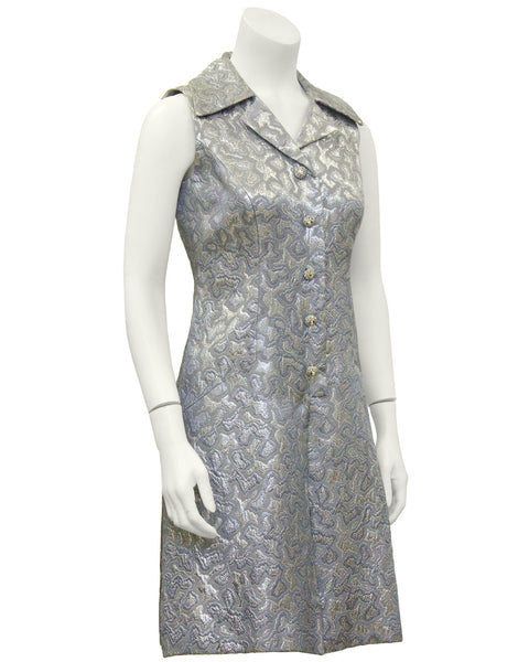 Silver Brocade Sleeveless Dress
