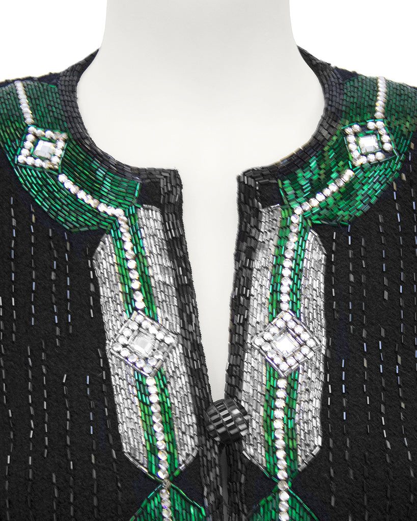Black Knit Evening Suit with Art Deco Inspired Beading