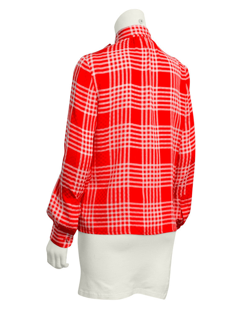 Red and White Check Silk Shirt with Tie