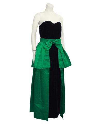 Black Velvet Column Gown with Green Peplum Wrap Skirt