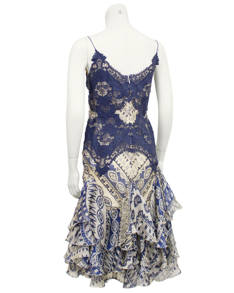 Blue Lace and Printed Cocktail Dress
