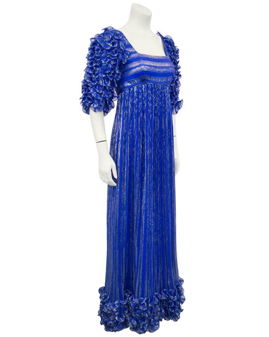 Blue and Gold Dynasty Inspired Column Gown