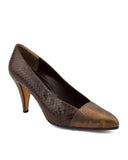 Bronze and Brown Snakeskin Pumps