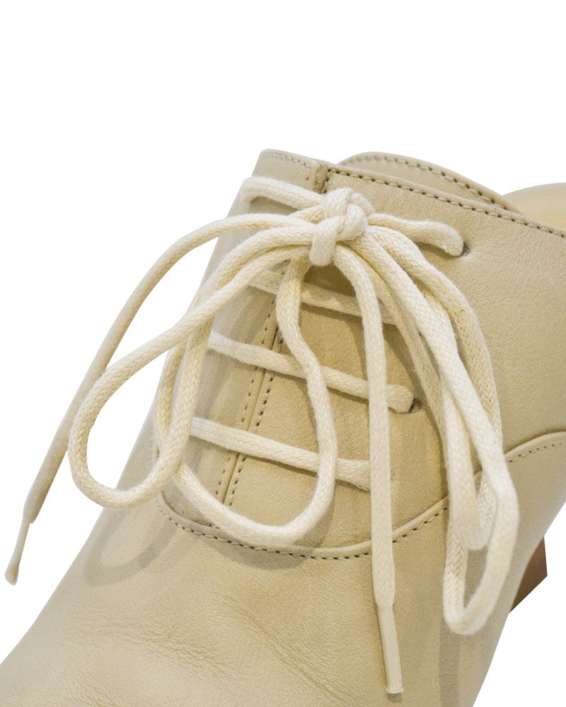 Cream Lace Up Mules