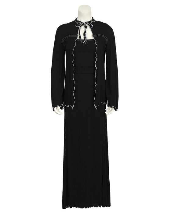 Black Jersey Maxi Dress and Jacket Set