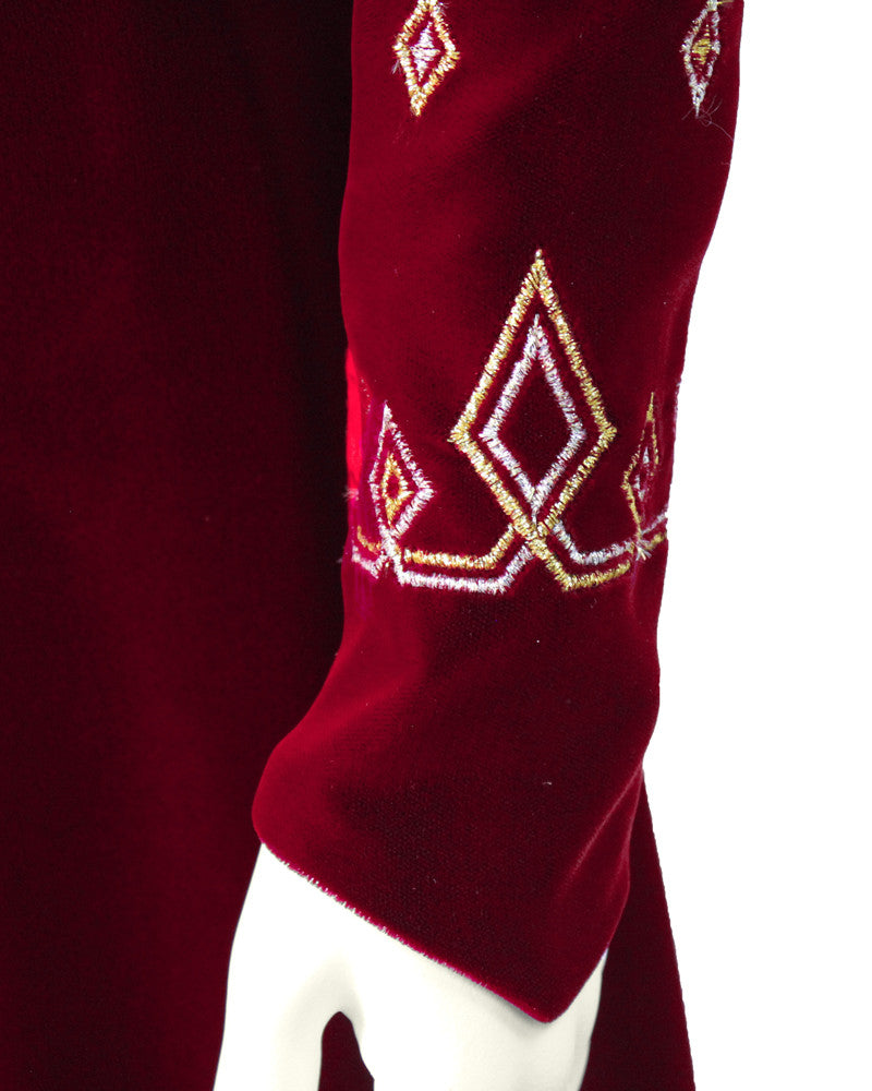 Red Velvet Gown with Gold & Silver Details