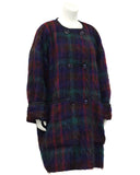 Navy, Red and Green Plaid Mohair Coat