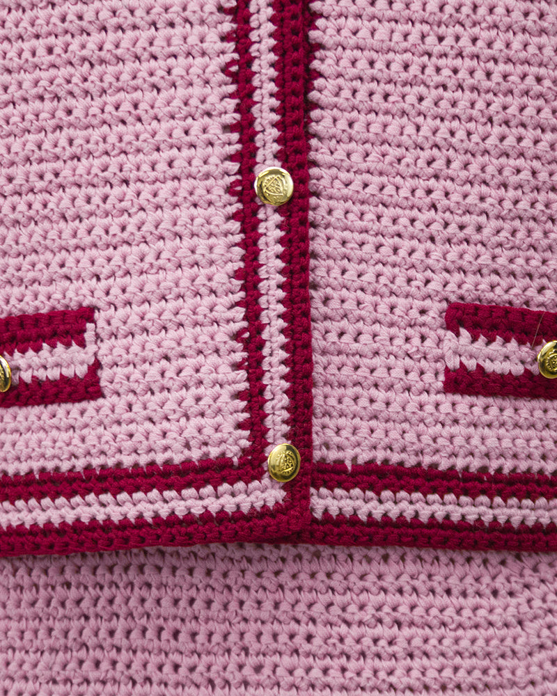 Pink Crochet Chanel Style Suit