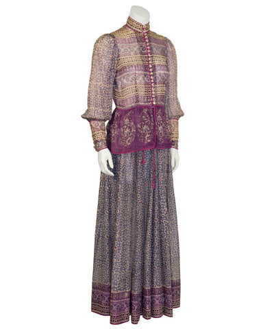 Purple Bohemian Top and Skirt Set