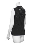 Black sleeveless top with paillettes