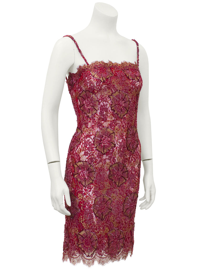 Red Demi Couture Sheer Beaded Lace Mini Cocktail Dress with Chiffon Wrap