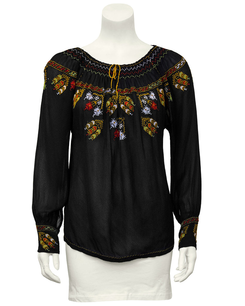 Black Hand Embroidered Smock Top