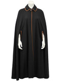 Black Wool Cape and Skirt Ensemble