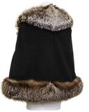Black Wool Cape with Fox Trim