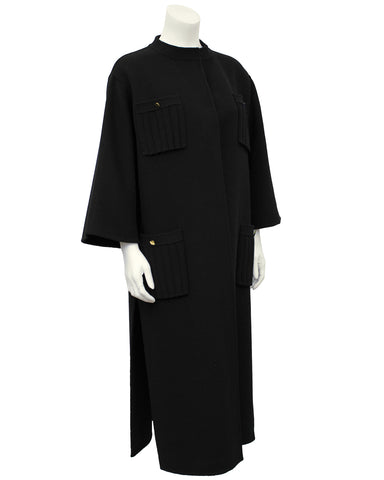Black Unlined Felted Wool Coat