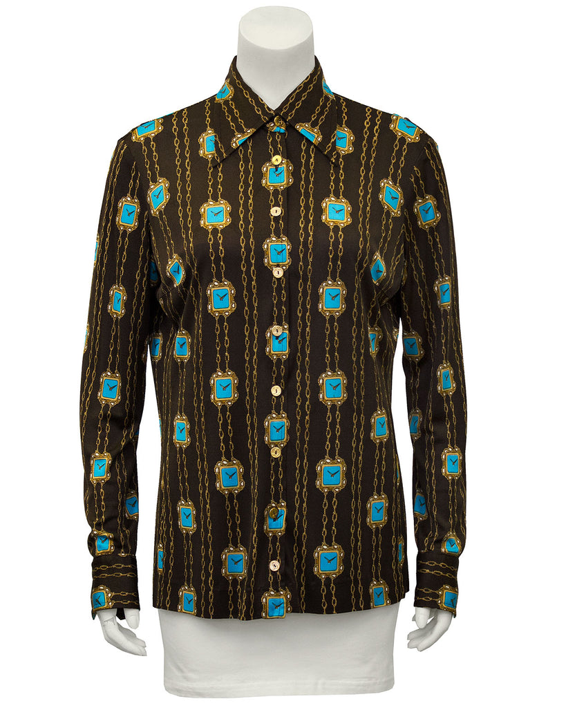 Brown Blouse with Clock Pattern