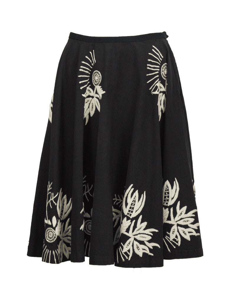Black/Charcoal Circle Skirt With Hand Embroidery