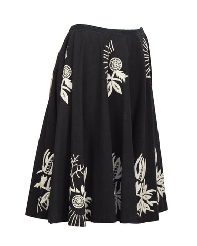 Charcoal Circle Skirt With Hand Embroidery