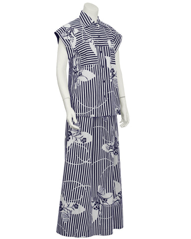 Navy and White Yukata Print Maxi Ensemble