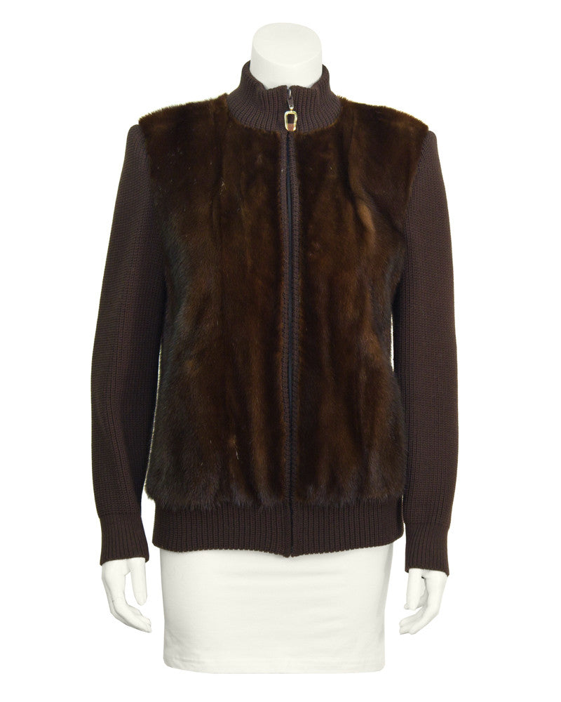Brown Mink Bomber Jacket