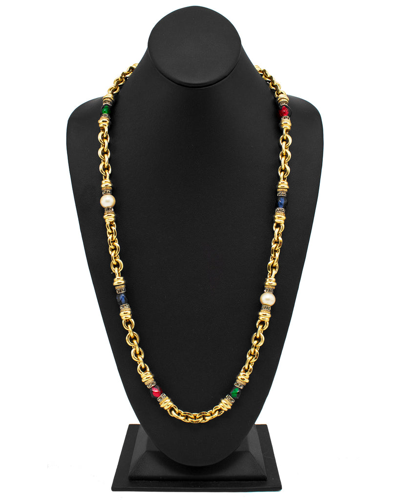 Gold Chain Link Necklace with Faux Pearls, Glass Beads & Rhinestone Detail