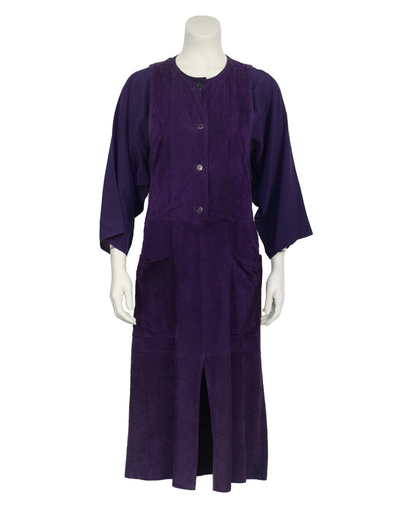 Purple Suede and Rayon Crepe Dress