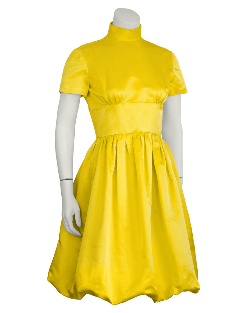 Yellow Satin Bubble Hem Cocktail Dress