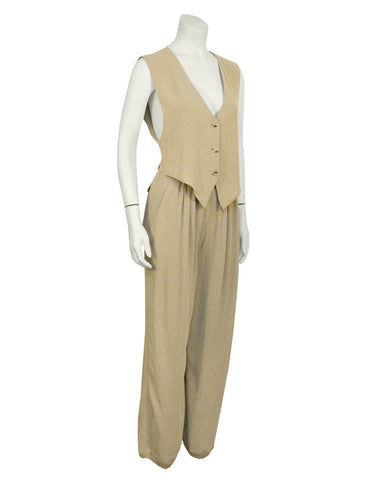 Beige Deconstructed Pant Set