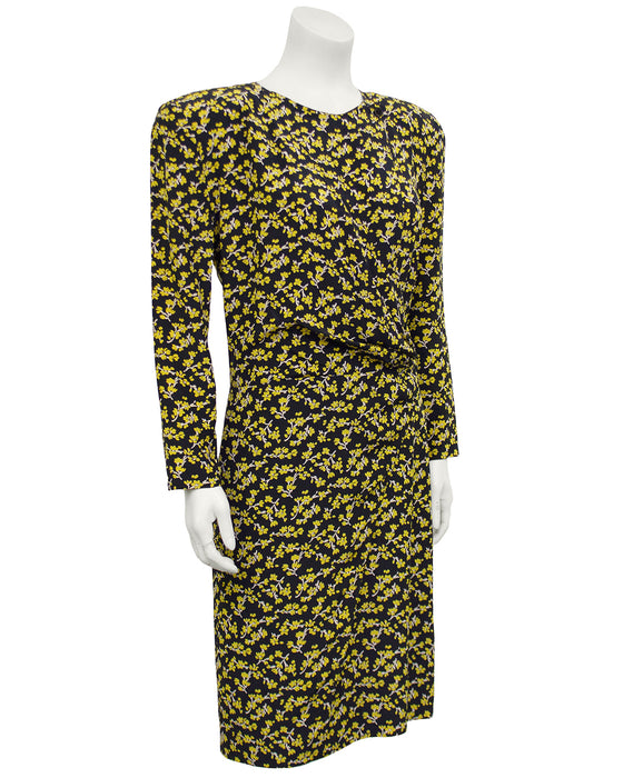 Navy and Yellow Floral Chintz Dress