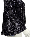 Black and Grey Velvet Paisley Blouse