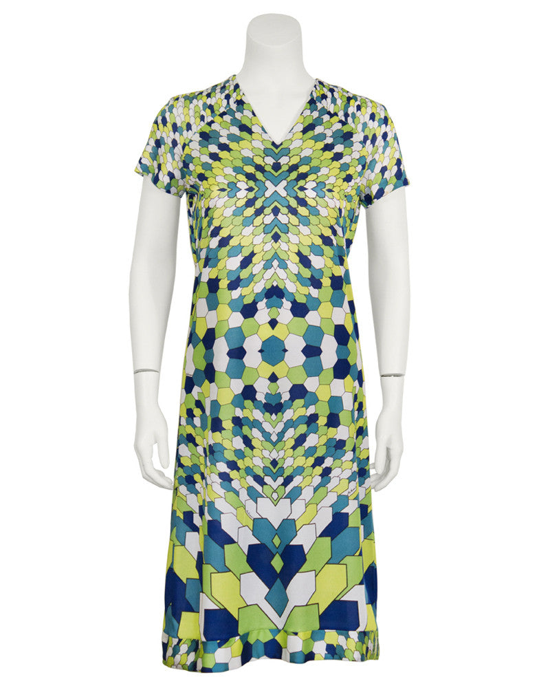 Green Geometric Print Day Dress