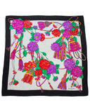 Floral and Tassel Pattern Silk Jacquard Scarf