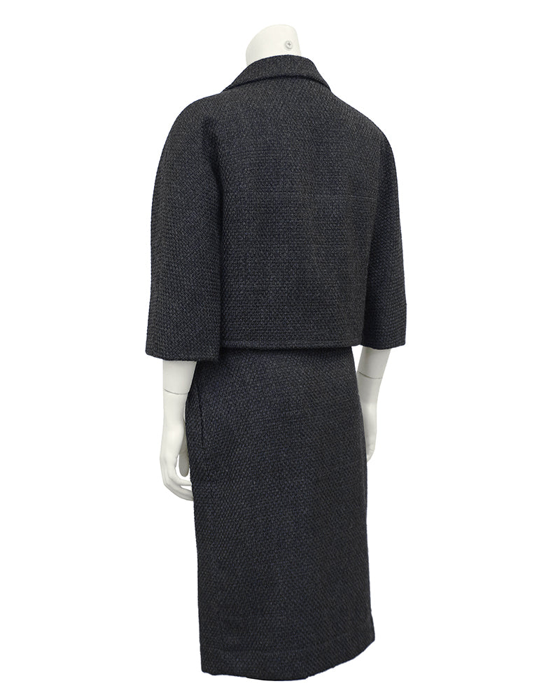 Charcoal Gray Balenciaga Skirt Suit With Oversized Jewelled Buttons
