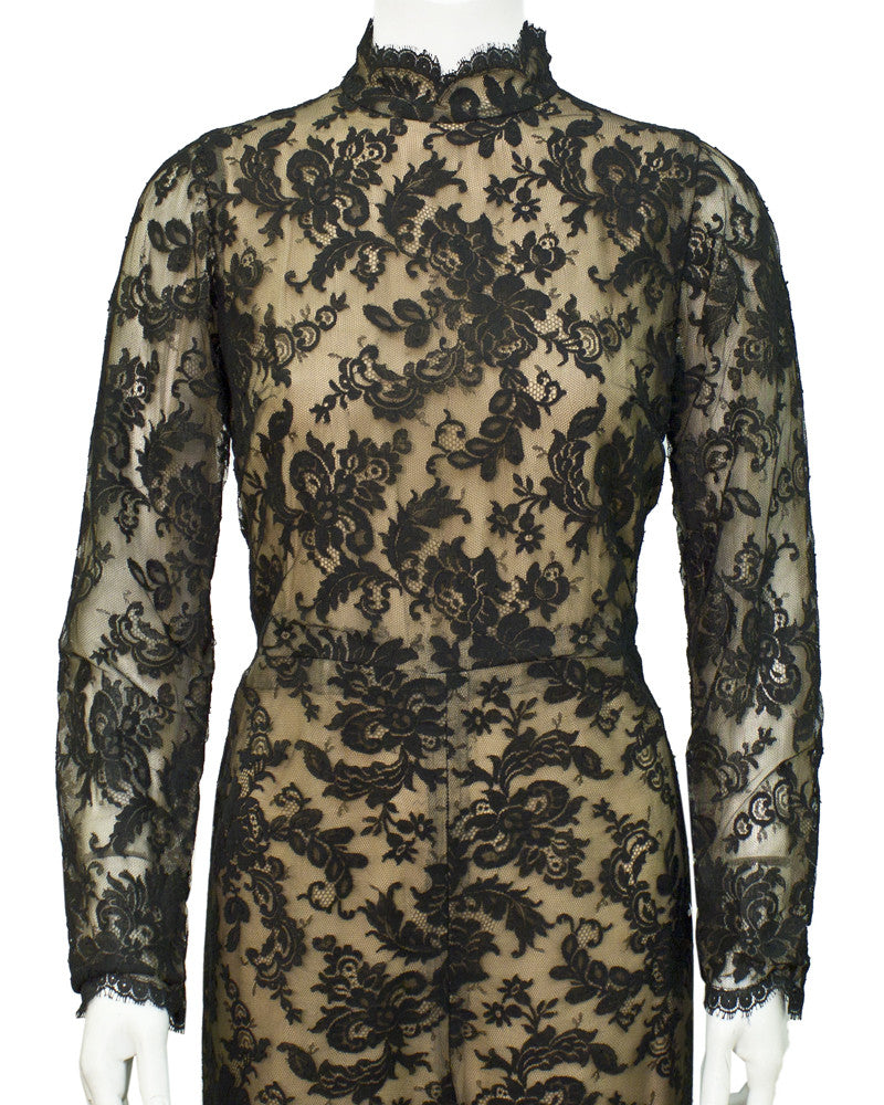 Black Lace long sleeve jumpsuit