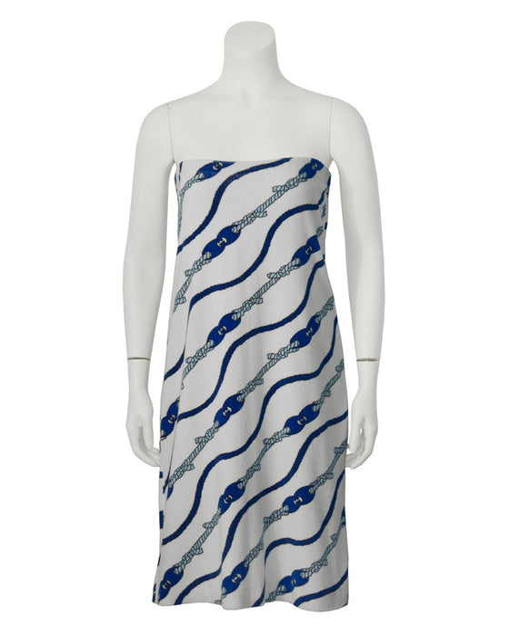 White and Blue Nautical Beach Cover-up