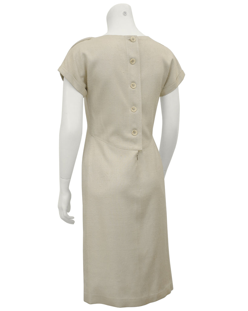 Beige Demi Couture Raw Silk Day Dress