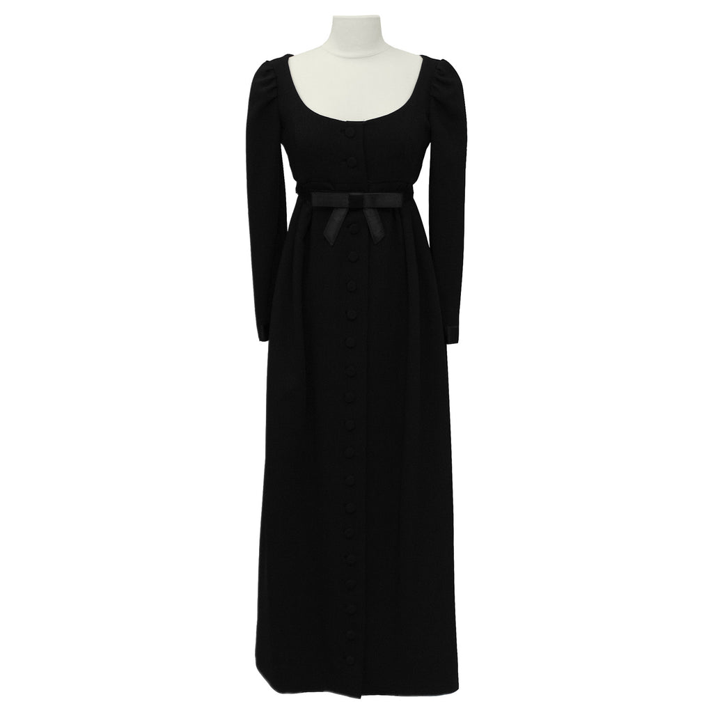 Black Empire Waist Gown with Bow