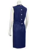Navy Blue Demi Couture Raw Silk Day Dress