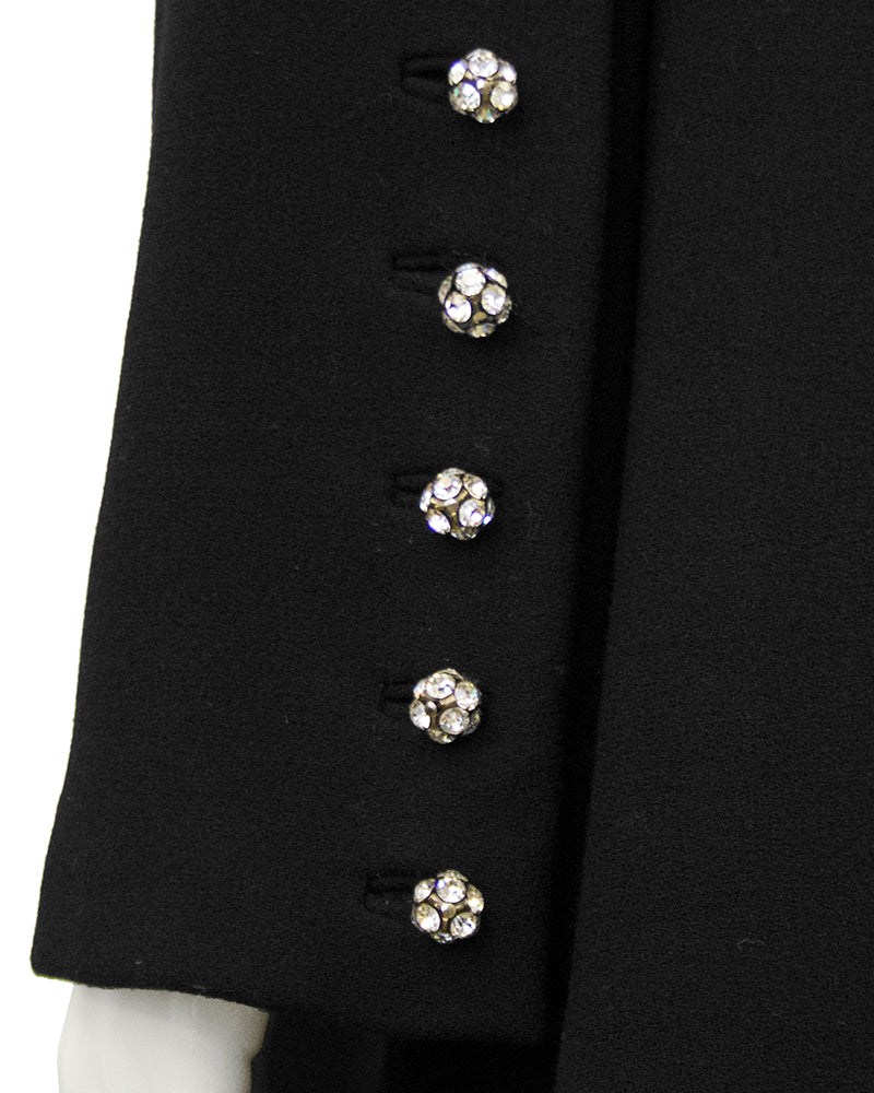 Black Wool Cocktail Dress with Rhinestone Buttons
