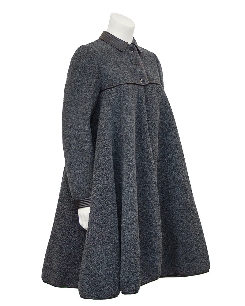 Grey Wool Swing Coat with Leather Trim