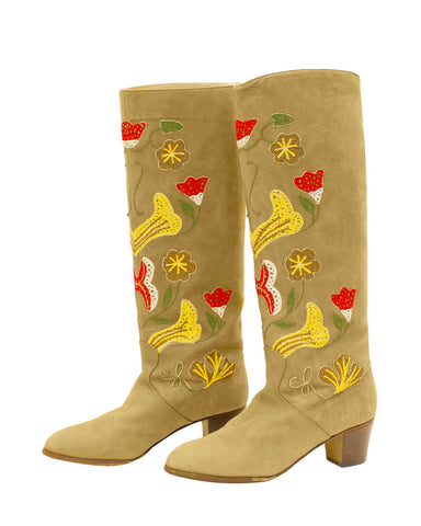 Tan Suede Floral Embroidery Boots