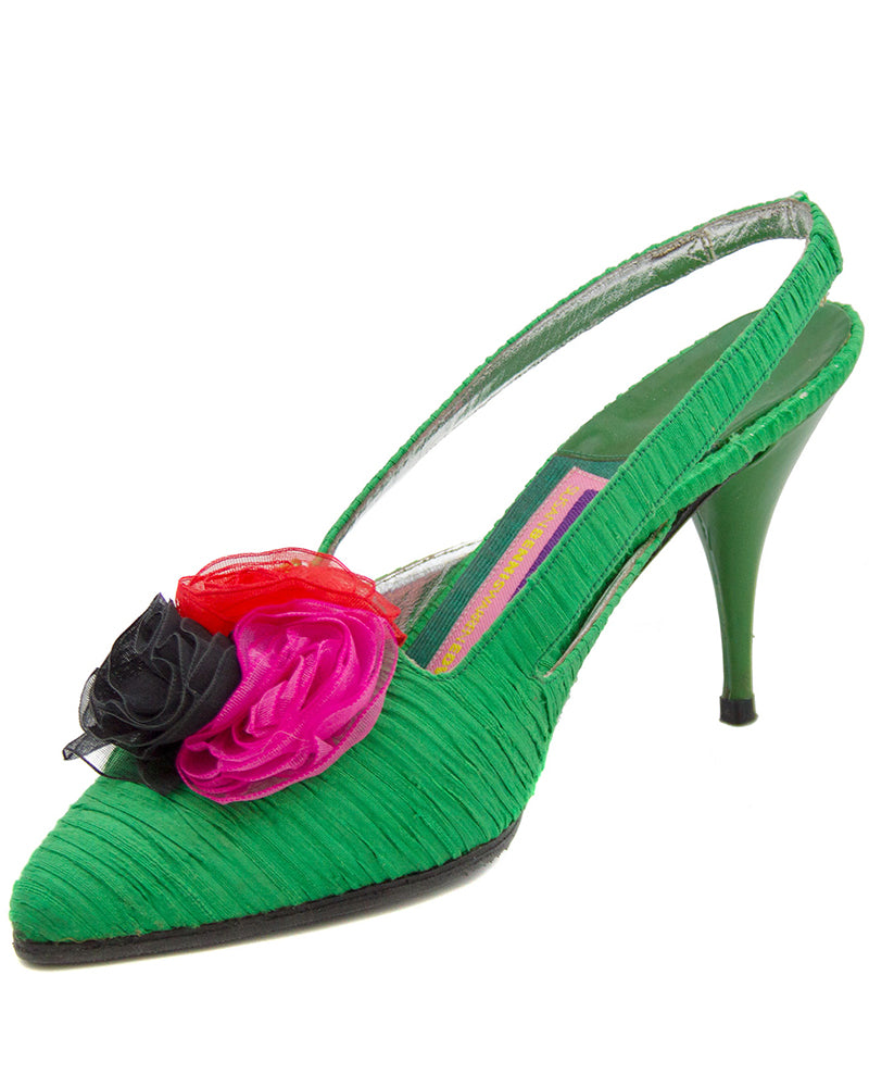 Emerald Green Silk Shoes with Organza Flowers