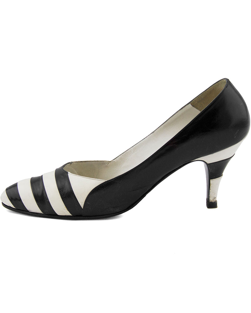 Black and White Striped pumps